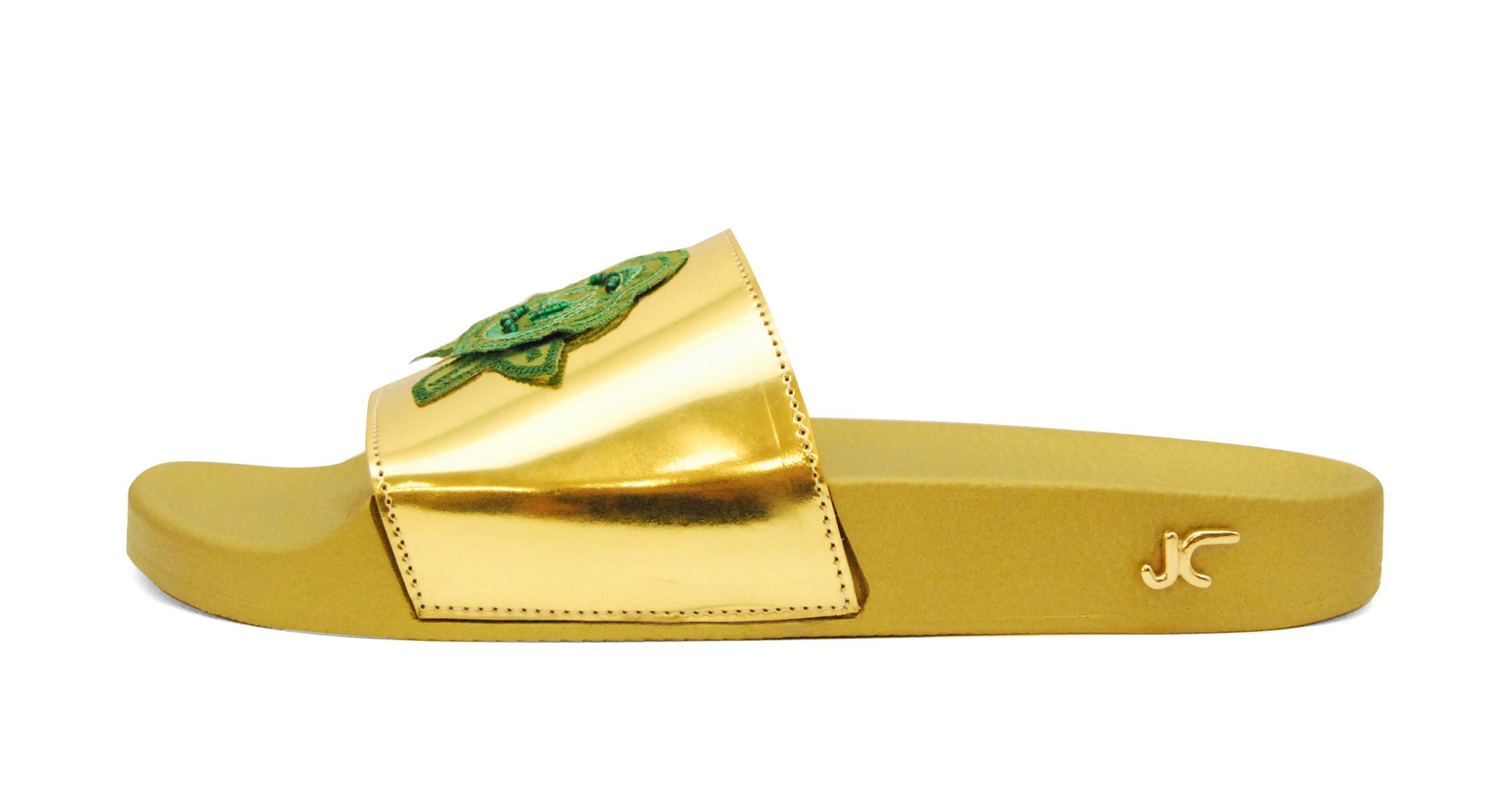 Foto 1 de Chancla dorada pala flor verde