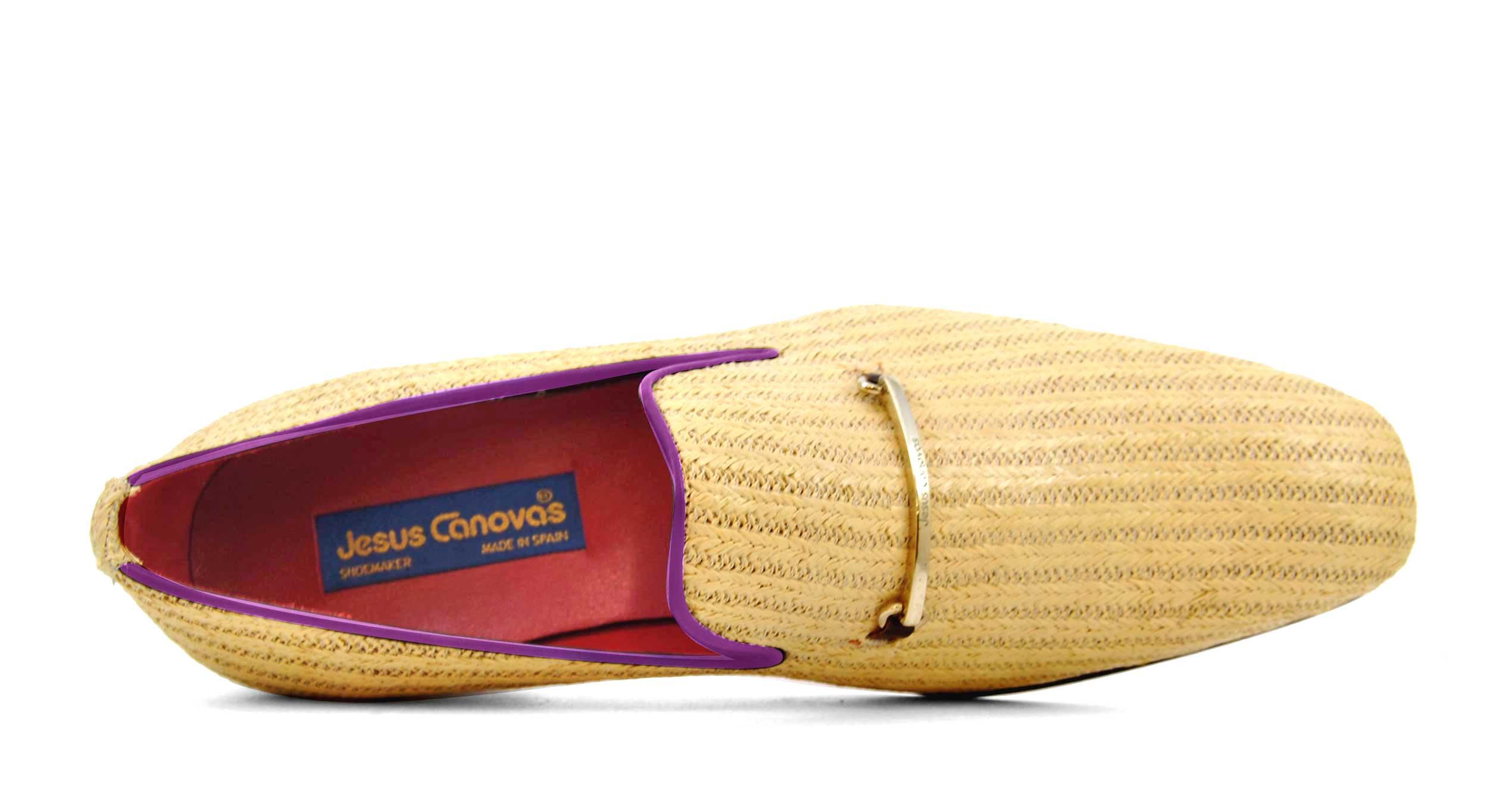 Foto 2 de Zapatos Palma Panameña Con Ribete Morado