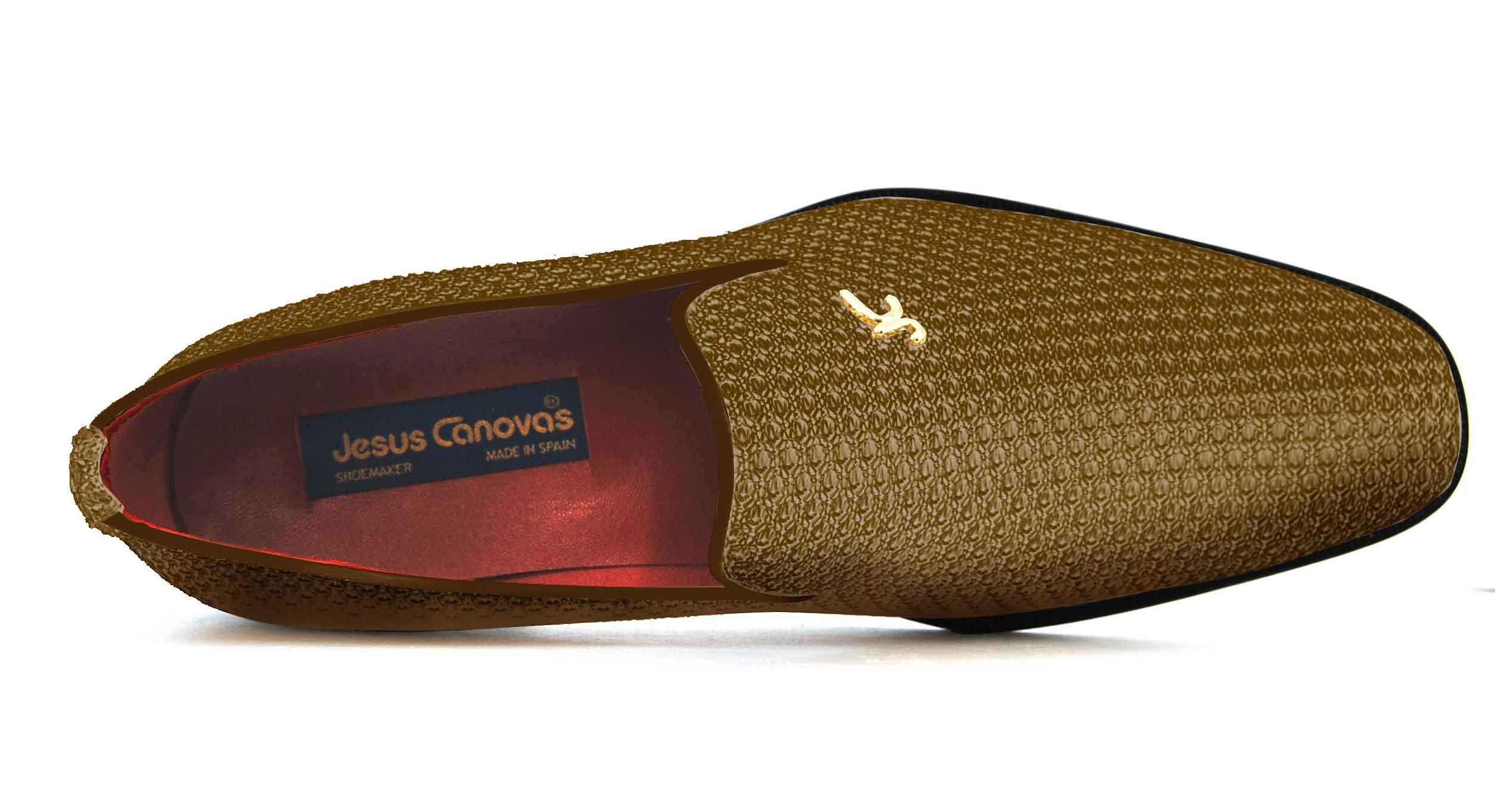 Foto 2 de Zapatos Trenza Seda Marron Con JC Dorado