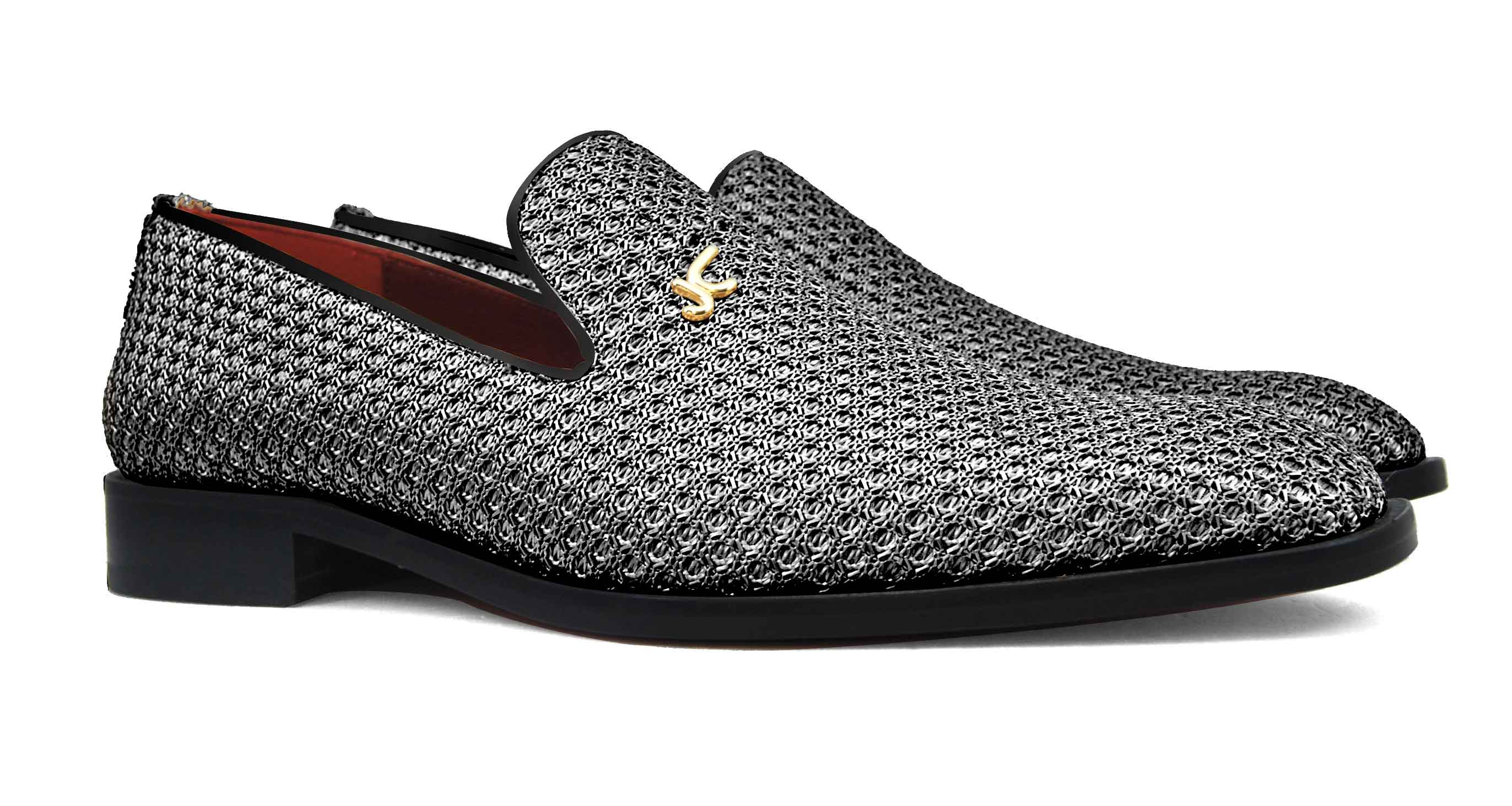 Foto 5 de Zapatos Trenza Seda Plata Negro Con JC Dorado