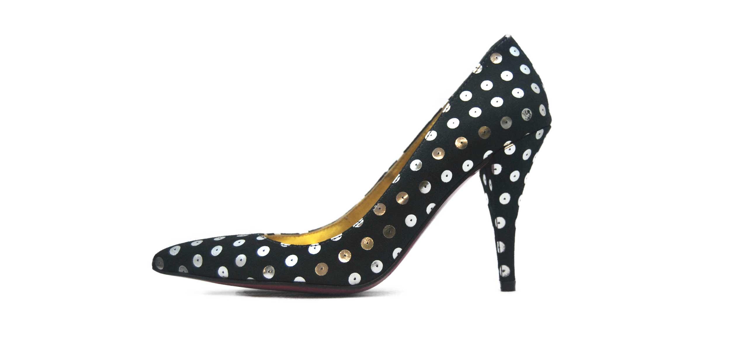 Foto 1 de Zapato Negro Lunares Plata