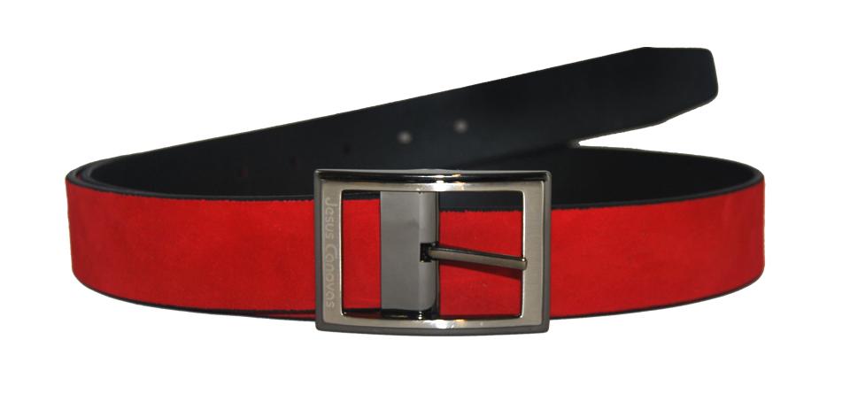 Foto 1 de Cinturón Reversible Ante Rojo
