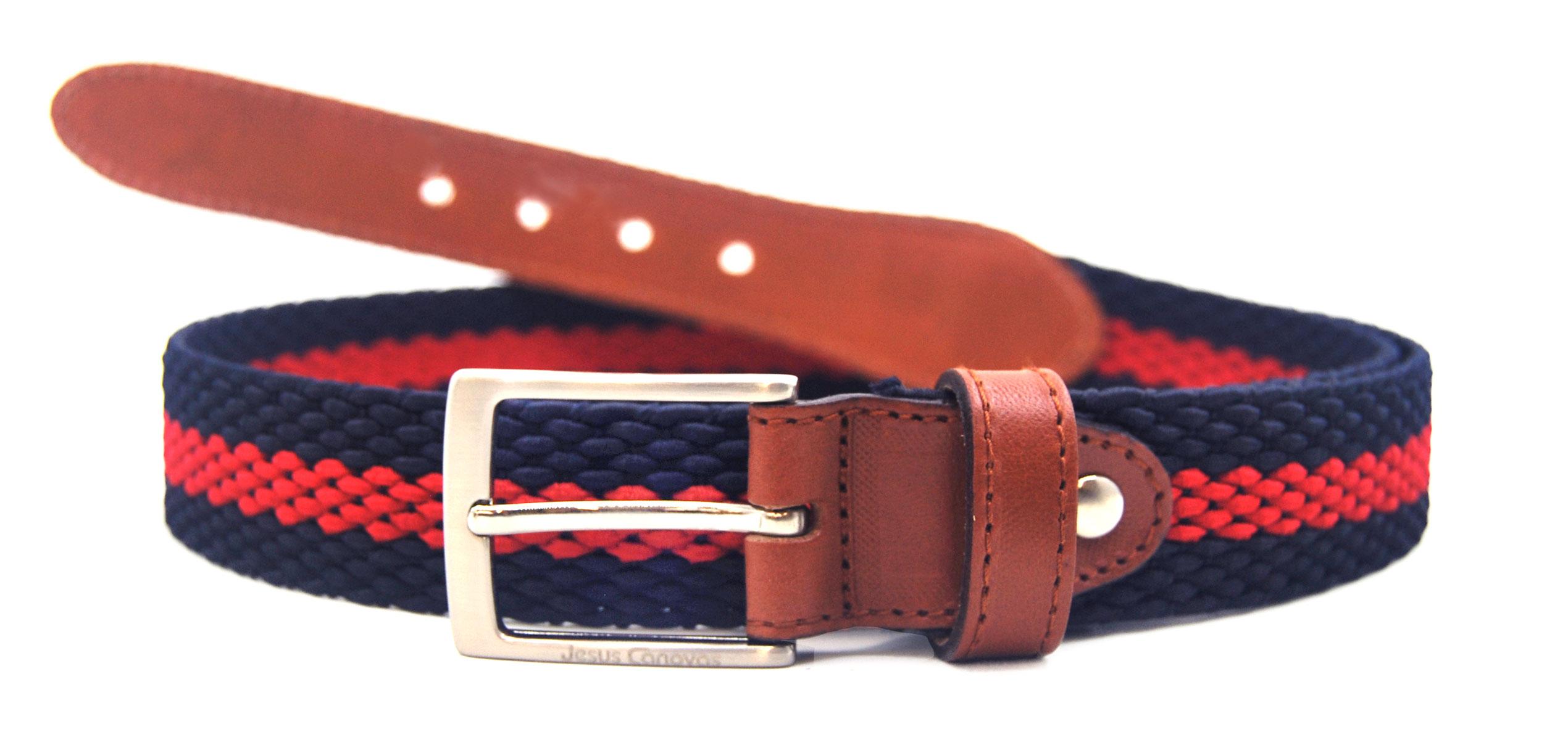 Foto 1 de Cinturón Trenzado Elástico Marino Rojo