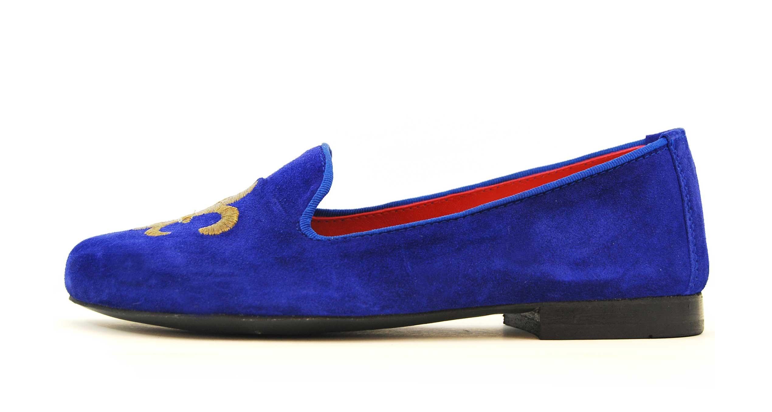 Foto 1 de Velvet slippers azulon 884 bordado flor de lis cobre