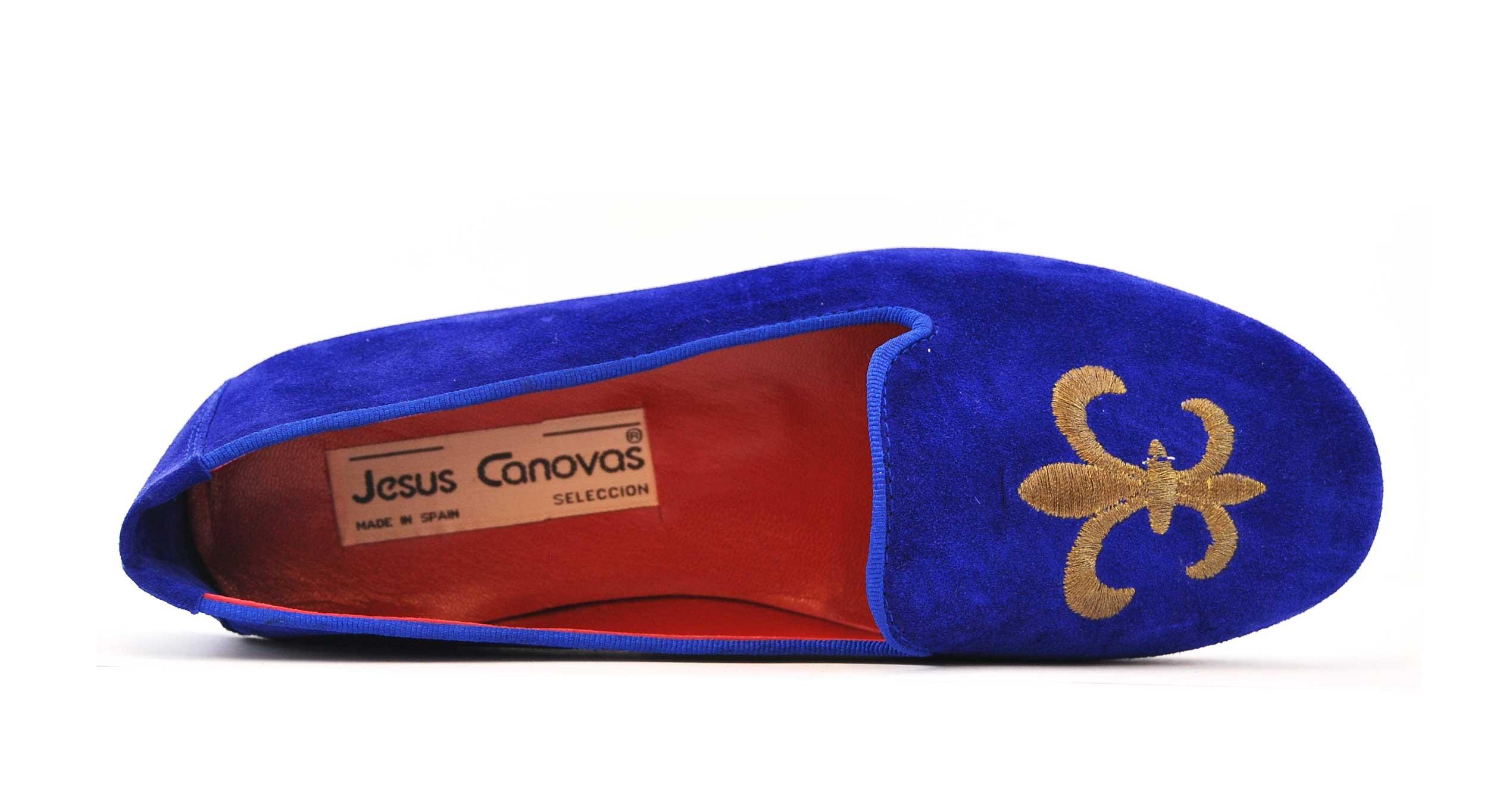 Foto 2 de Velvet slippers azulon 884 bordado flor de lis cobre