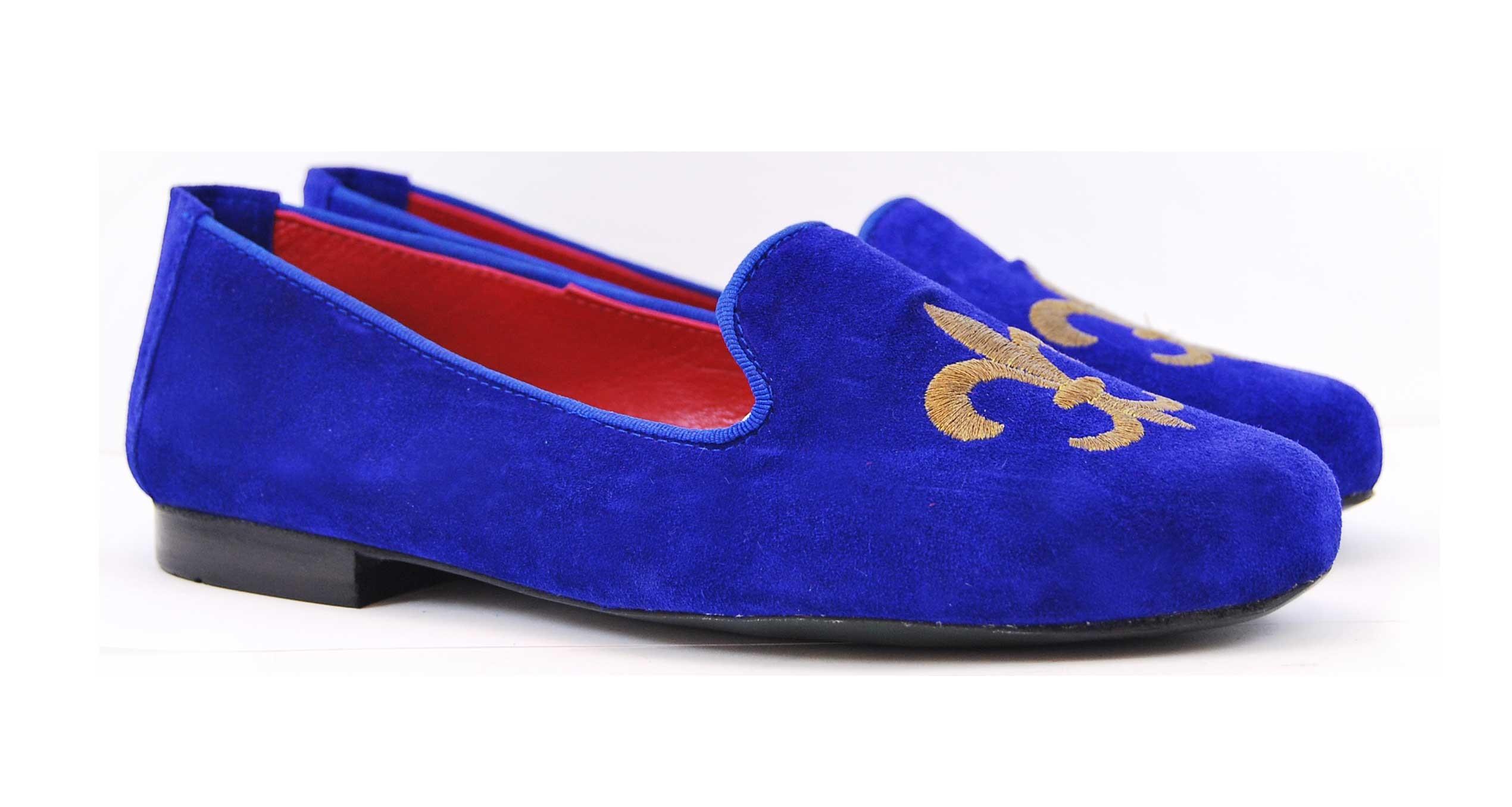 Foto 5 de Velvet slippers azulon 884 bordado flor de lis cobre